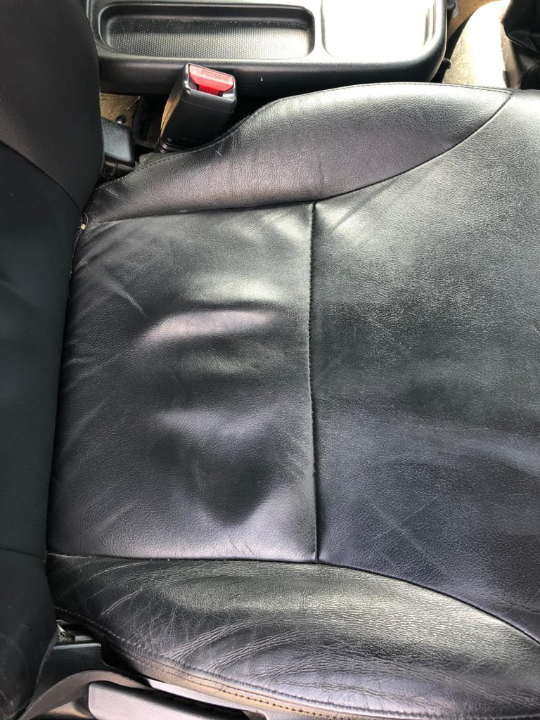 Leather Car Seat Repaired Seam