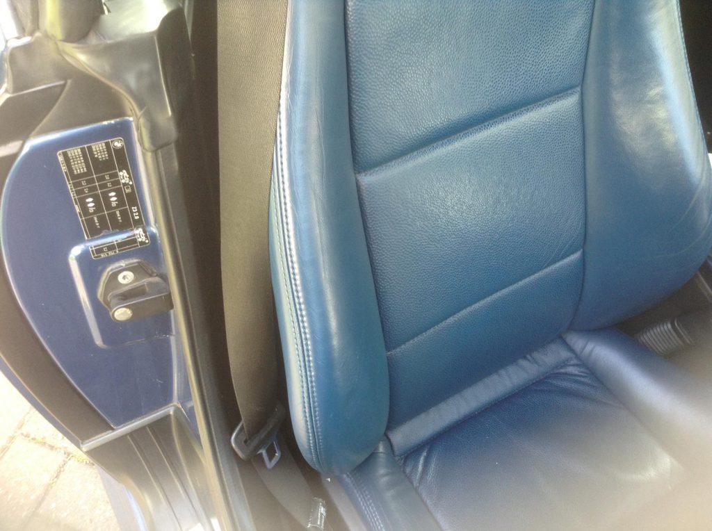 Blue Leather Car Seat Bolster Damage Restoration