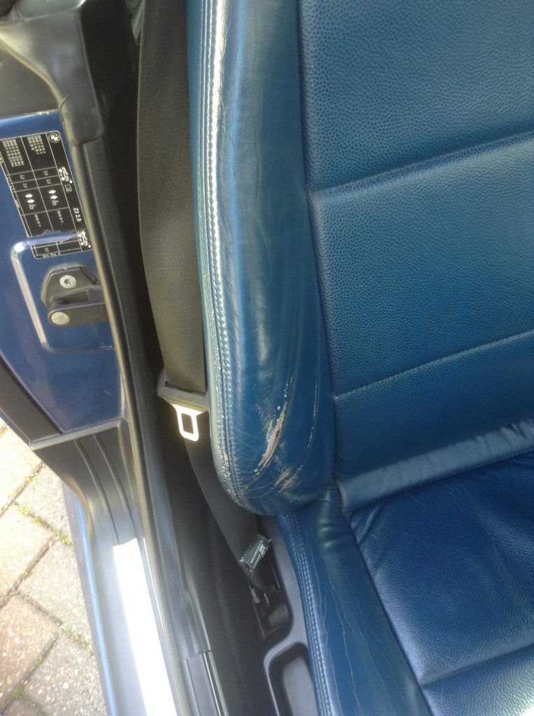 Blue Leather Damaged Bolster