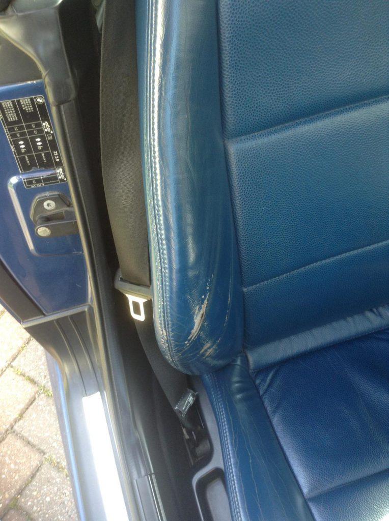 Blue Damaged Car Seat Bolster