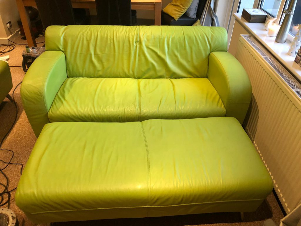 Lime Green Leather Restoration