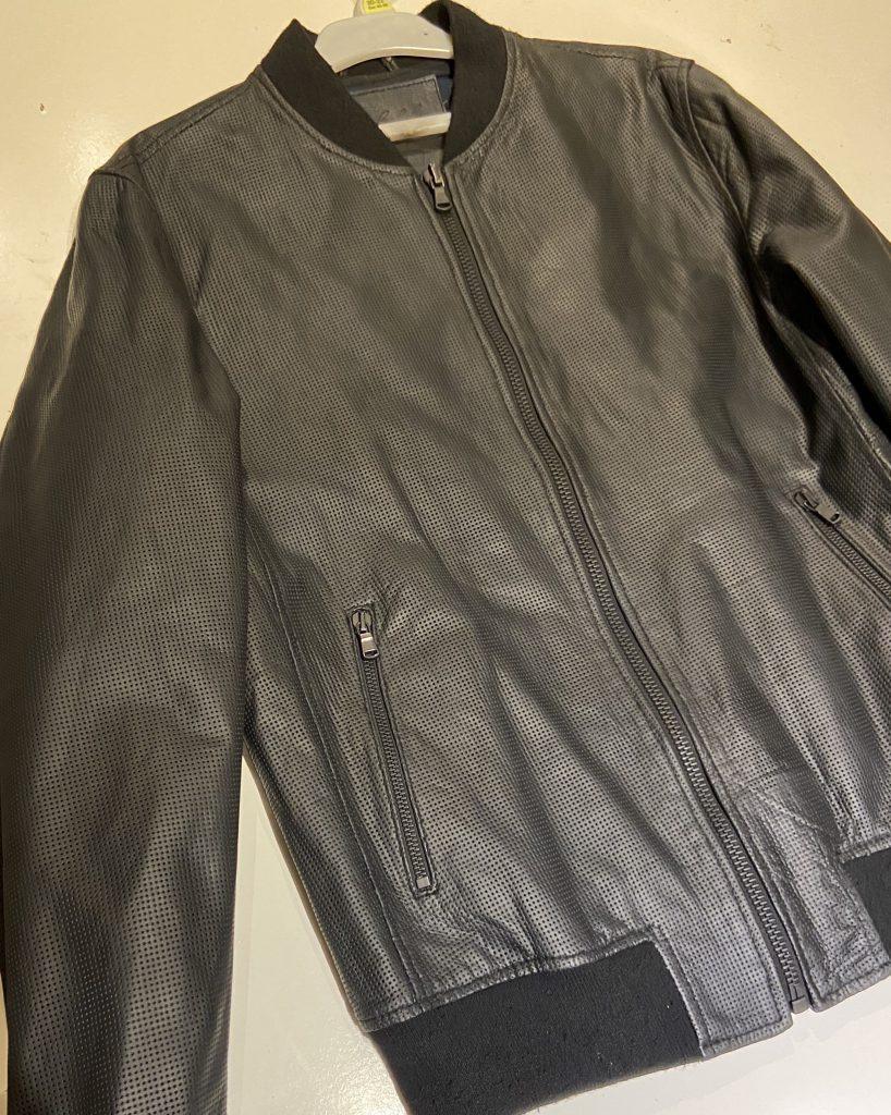 Blue To Dull Black Leather Jacket